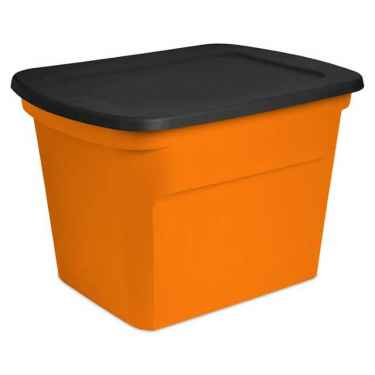 Sterilite 18 Gallon Orange & Black Storage Tote