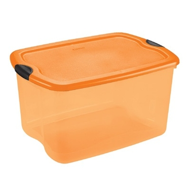 Sterilite 66 Quart Orange & Black Latch Box