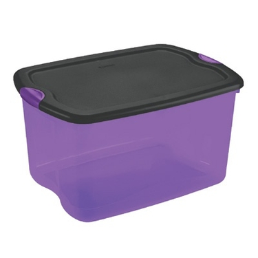 Sterilite 66 Quart Purple & Black Latch Box - Perfect For Holiday Storage!