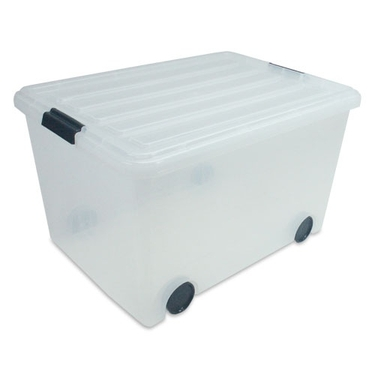 IRIS Clear Stacks 56 Quart Storage Box with Wheels