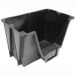 Small black stackable storage bin