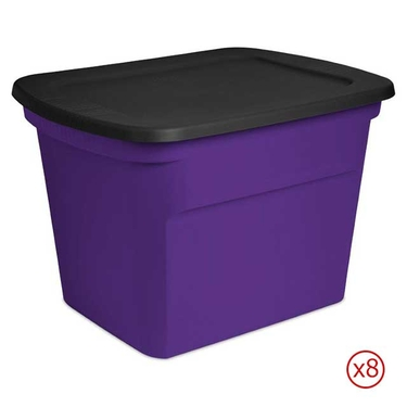 Sterilite 18 Gallon Purple & Black Storage Totes - Case of 8