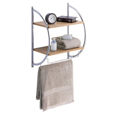 Wall Mounted Bathroom Shelf: 2 Tier Wood Shelves & 2 Towel Rods