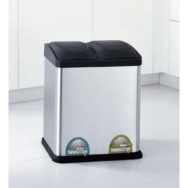 Stainless Step On Trash & Recycling Can - 2 Compartments!