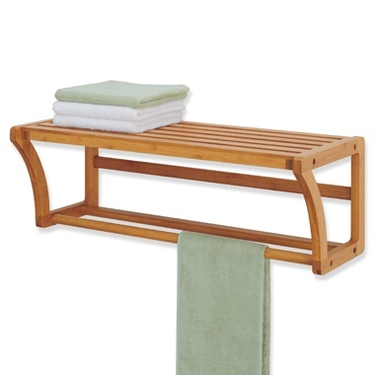 Bamboo Wall Mount Shelf w/ Towel Bar - Lohas Collection