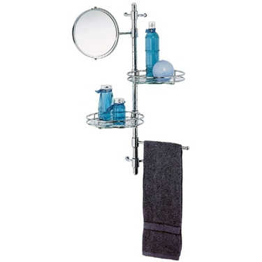 Wall-Mount Bathroom Organizer with Mirror, Shelves & Towel Bar