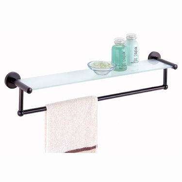 Oil Rubbed Glass Shelf with Towel Bar by Organize It All