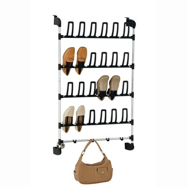 Overdoor 12 Pair Shoe Rack with hooks by Organize It All