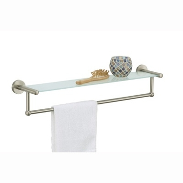 Satin Nickel Glass Shelf with Towel Bar by Organize It All