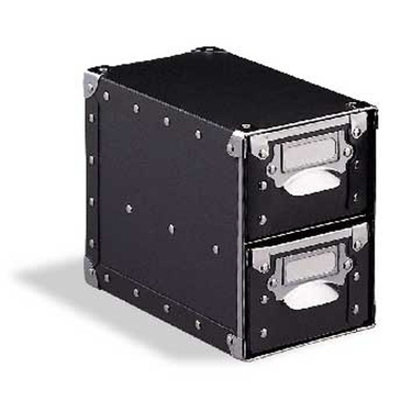 2 Drawer Storage Bin - Black with Silver Accents - 81182