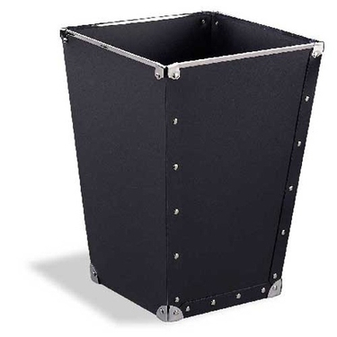 Set of 2 Wastebasket Black with Silver Accents by Organize It All: 81167