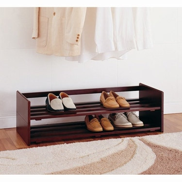 Mahogany Finish Stackable Shoe Rack by Organize It All