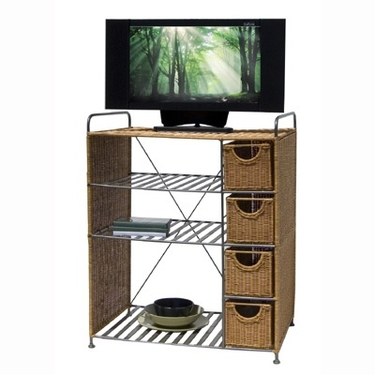 Wicker Media Storage Unit by Organize It All