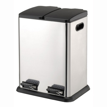 Dual Compartment Step-on Trash/Recycling Bin by Organize It All