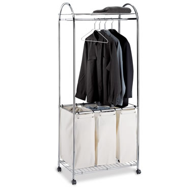 Chrome Laundry Sorter with Rack