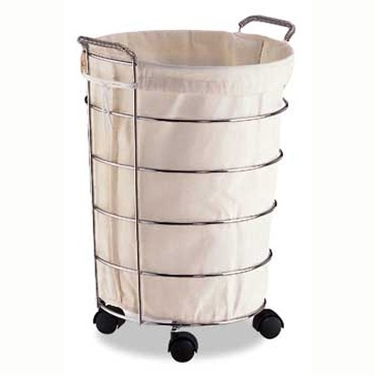 Small Laundry Basket with Removable Cotton Canvas Laudry Bag
