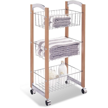 Concord Wood Rolling Basket Cart