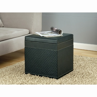 Onyx Collection Faux Leather Storage Ottoman by Organize It All