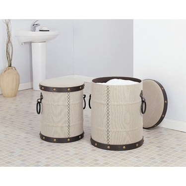 Rivere Canvas Clothes Hampers - Set of 2 - Chocolate Trim