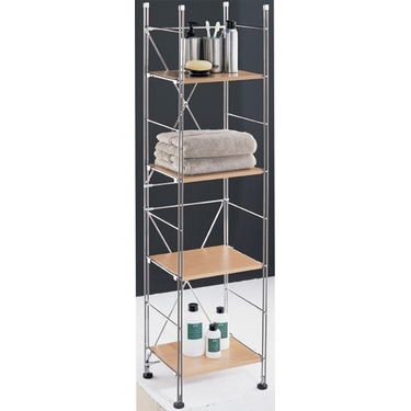 Wood & Chrome 4 Shelf Tower