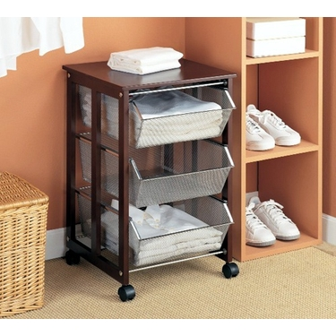 Three-Tier Basket Cart With Top Shelf by Organize It All