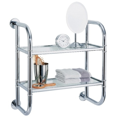 Two-Tier Wall-Mount Chrome and Glass Shelf by Organize It All