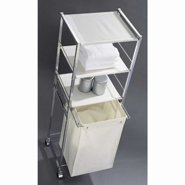3 Shelf Bath Valet with Canvas Hamper by Organize It All