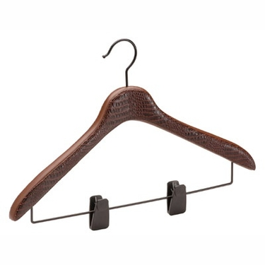 Brown Faux Leather Blouse/Skirt Hanger with Clips