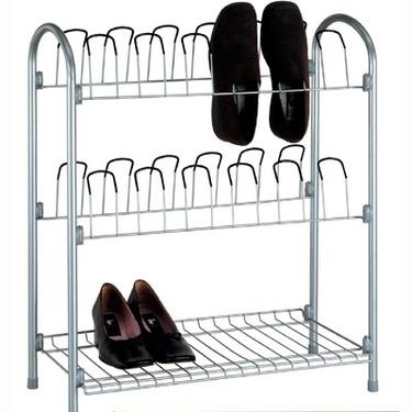 12 Pair Chrome Shoe Rack with Shelf by Organize It All