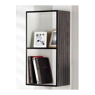 Double Box Shelf - Black w/White Stripes