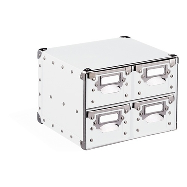 4 Drawer Storage Bin - White with Silver Accents - 82184