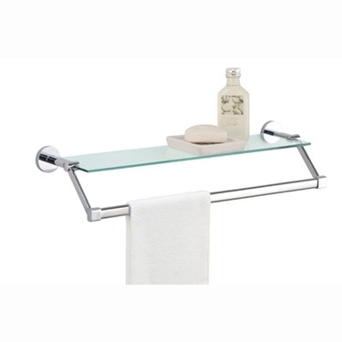 Glass Shelf with Chrome Towel Bar by Organize It All