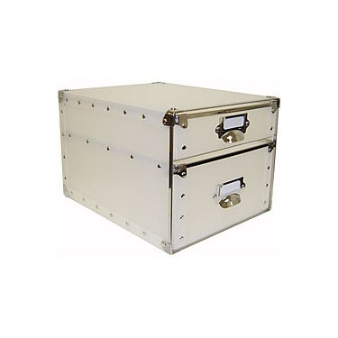 2 Drawer File Bin White with Silver Accents by Organize It All: 82102