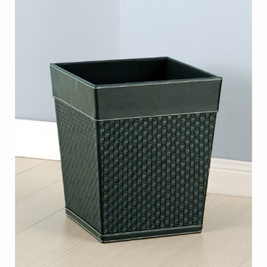 Onyx Collection Faux Leather Wastebasket by Organize It All