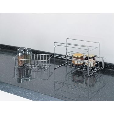 Set of 2 Double Basket Chrome Organizer by Organize It All