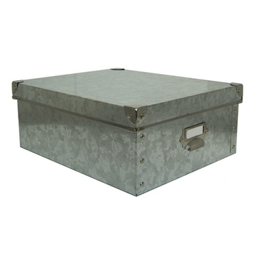 Medium Storage Box: Silver Galvanized Metal by Organize It All: 88156