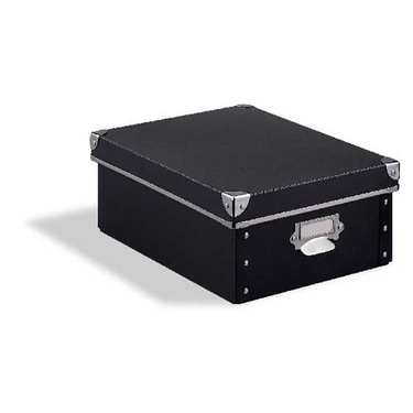 Set of 2 Medium Storage Box Black with Silver Accents by Organize It All: 81156