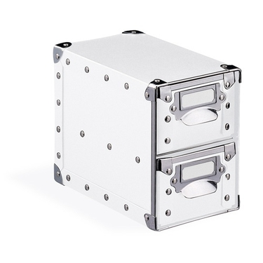 2 Drawer Storage Bin - White with Silver Accents - 82182