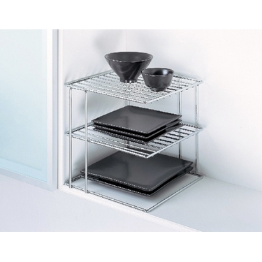 3-Tier Corner Shelf in Chrome by Organize It All