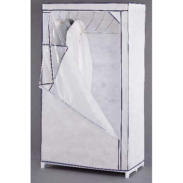 Rolling Storage Wardrobe - White Canvas - 36'' x 20'' x 63''