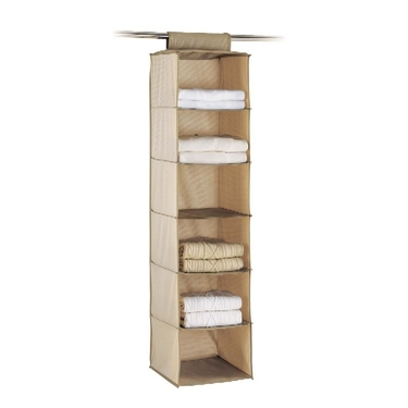Hanging Closet 6 Shelf Accessory Bag: Cappuccino