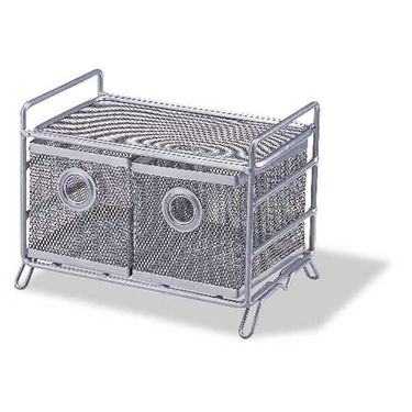 Metal Mesh 2-Basket Bin: Set of 2