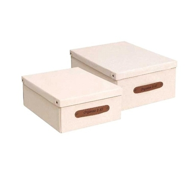 Set of 2 Small Natural Cotton Canvas Storage Box - 50011