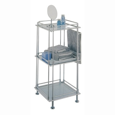 3 Tier Chrome Bath Shelving Rack by Organize It All