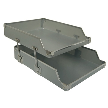 Set of 2 In and Out Paper Tray - Silver with Silver Accents