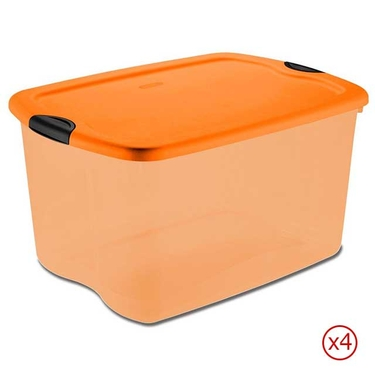 Sterilite 66 Quart Orange and Black Latch Boxes - Case of 4