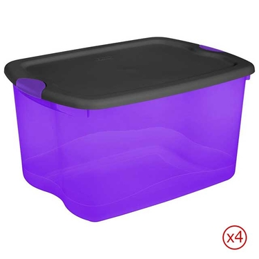 Sterilite® 66 Quart Purple & Black Latch Boxes - Case of 4