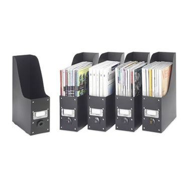 Black Plastic Magazine File Boxes by Whitmor - Set of 5