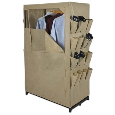 Khaki Free Standing Wardrobe Closet by Household Essentials