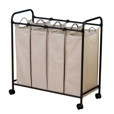 Heavy Duty 4-Bag Laundry Sorter with Wheels by Household Essentials